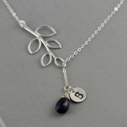 September Birthday Gift, Birthstone Lariat Necklace, Sapphire, Sterling Silver, Leaf, Initial, Monogram Necklace, Personalized Gift For Her
